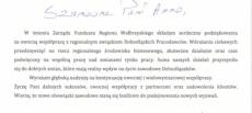 Podziękowanie dla Instytut od Prezesa Funduszu Regionu Wałbrzyskiego Pana Roberta Jagły za współpracę ze Związkiem Dolnośląskich Pracodawców